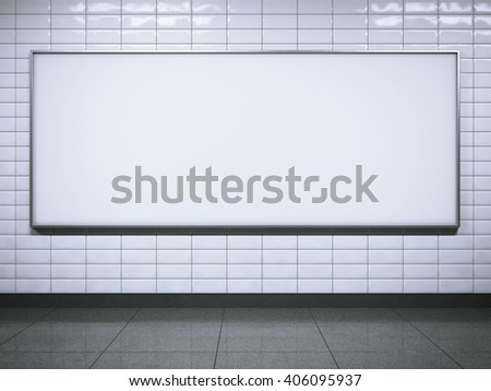 Horisontal blank billboard on metro station. 3d rendering - stock photo