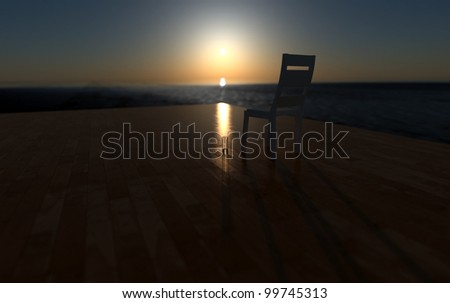 Horizon on the see seen from the wooden deck - stock photo