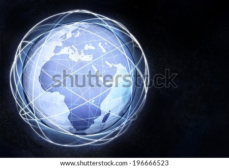 horizontal Africa earth globe view from cosmic space illustration - stock photo
