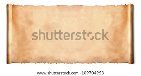 Horizontal ancient scroll isolated over a white background - stock photo