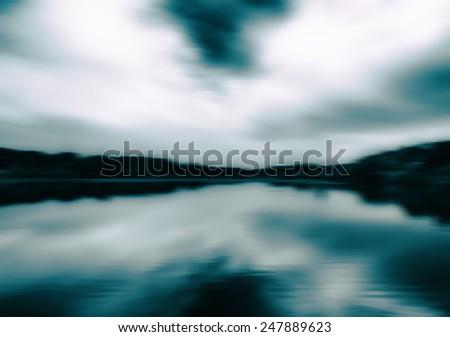 Horizontal aqua sepia landscape motion abstraction background backdrop - stock photo