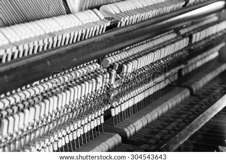 Horizontal black and white inside piano composition background - stock photo