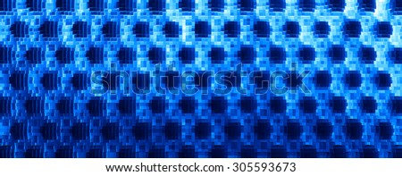 Horizontal blue 3d extruded cubes abstraction background - stock photo