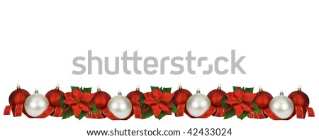 Horizontal Christmas border of poinsettia, balls and ribbon on white. Large size. - stock photo