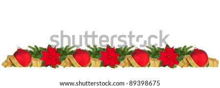 Horizontal Christmas border of poinsettia, balls, spruce and ribbon on white. Large size. - stock photo