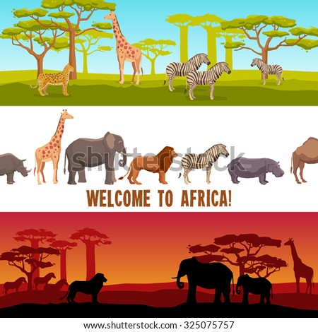 Horizontal colorful African animals with trees banners set isolated  illustration - stock photo