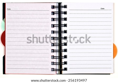 Horizontal Day Planner With Blank Pages Isolated On White - stock photo