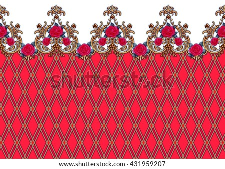 Horizontal decorative background with red roses 1 - stock photo