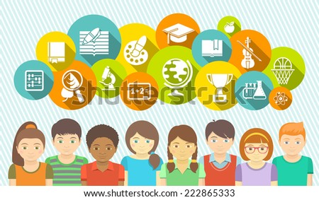 Horizontal flat banner with a group of kids and educational icons of school subjects in colored circles. Educational concept. Children with different abilities and interests. - stock photo