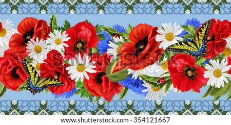 horizontal floral border, pattern, seamless, red flowers poppies, daisies, butterflies, ladybugs - stock photo