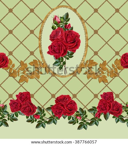Horizontal floral border. Pattern, seamless. Roses are red. Garland. Gold frame. - stock photo