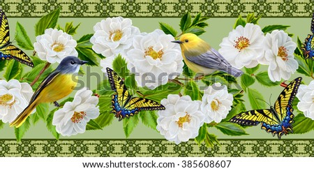 Horizontal floral border. Yellow small bird on branch blooming white roses.  Pattern.  - stock photo