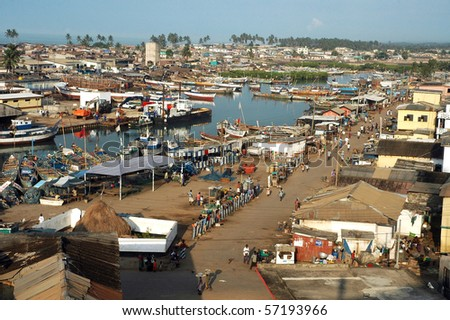 Horizontal image looking down on Elmina harbour from Fort St Jago - stock photo