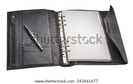 Horizontal image of an open organizer note book, isolated  - stock photo