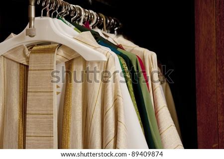 Horizontal image of Catholic Priest's vestments. - stock photo