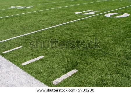 horizontal image of 50-yard line - stock photo