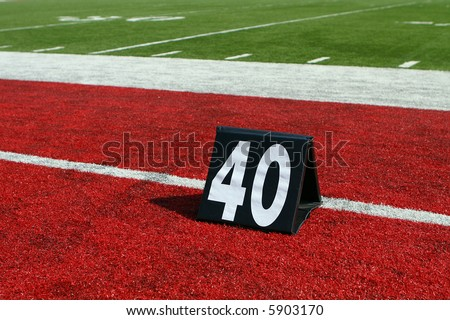 horizontal image of 40-yard line marker - stock photo