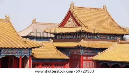 Horizontal majestic view of golden chinese tile roofs (Forbidden City,Beijing,China) - stock photo