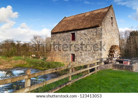 Horizontal Mill in Bunratty Folk Park, Ireland - stock photo