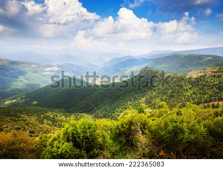 Horizontal mountains landscape. Pyrenees, Catalonia - stock photo