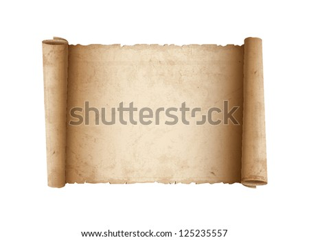 Horizontal Old Scroll paper. Raster version - stock photo