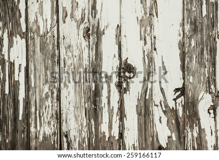 horizontal orientation image of a section of vintage, antique, fencing with peeling paint in neutral colors, with copy space / Vintage Fencing - Horizontal - stock photo