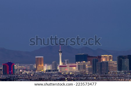 Horizontal photo of Las Vegas skyline at dusk. - stock photo