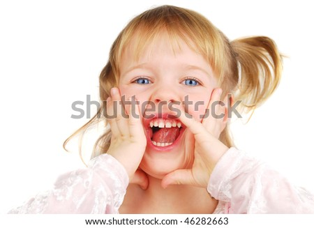 Horizontal portrait of a blond 3 year old girl screaming, her face is funny and she is very laugh! Isolated on the white. - stock photo