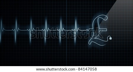 Horizontal Pulse Trace Heart Monitor with a Pound symbol in line. - stock photo