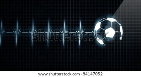 Horizontal Pulse Trace Heart Monitor with a soccer ball in line. Concept for sports medicine, soccer players, or die-hard soccer fans. - stock photo