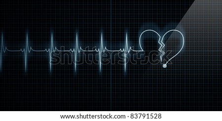 Horizontal Pulse Trace Heart Monitor with the symbol of a broken heart in line with the pulse. Concept for broken heart or heart attack. - stock photo