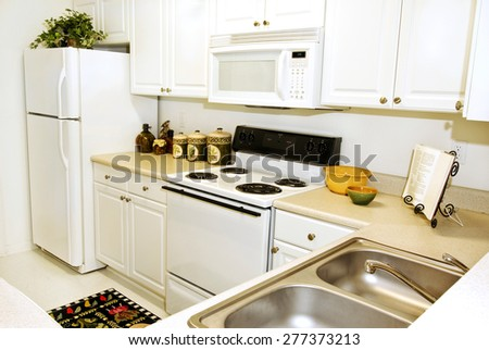 Horizontal Shot Of An Upscale Apartment Kitchen - stock photo