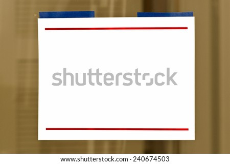 Horizontal Shot Of Blank Sign On Window/ Copy Space For Business - stock photo