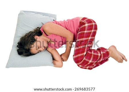 Horizontal Shot Of Little Girl Sleeping In A Fetal Position/ Little Girl Sleeping - stock photo