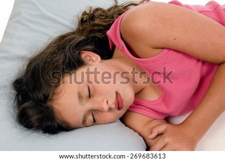 Horizontal Shot Of Little Girl Sleeping/ Little Girl Sleeping Soundly - stock photo