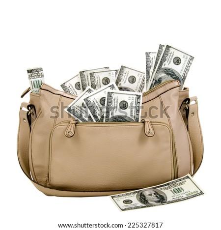 Horizontal Shot Of Purse Full Of Money Isolated On White Background/ Money Is Not Real - stock photo