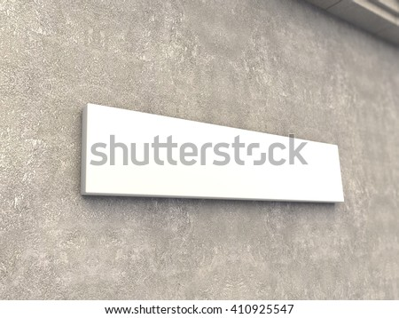 Horizontal signage mock up 3d render - stock photo