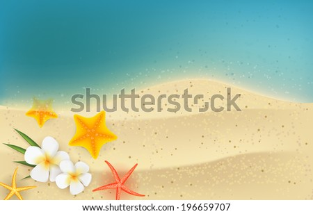 Horizontal summer backgound - sea and sand with tropical flowers and starfishes - stock photo