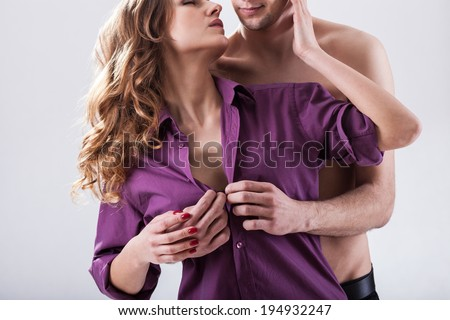 Horizontal view of a couple in love - stock photo