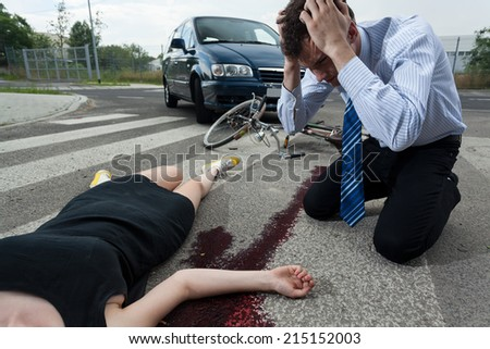Horizontal view of a driver killed young female cyclist  - stock photo