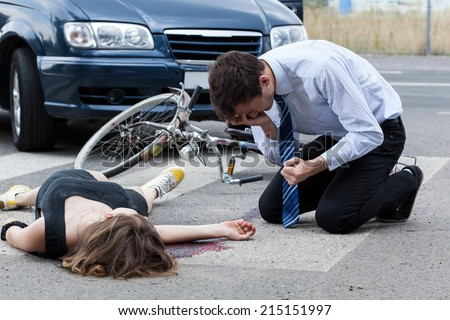 Horizontal view of a fatal road accident - stock photo