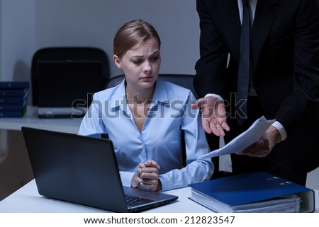 Horizontal view of a stress at work - stock photo