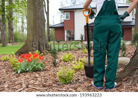 Horizontal view of a woman digging flowerbeds - stock photo