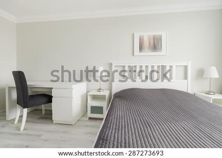 Horizontal view of bedroom in modern design - stock photo