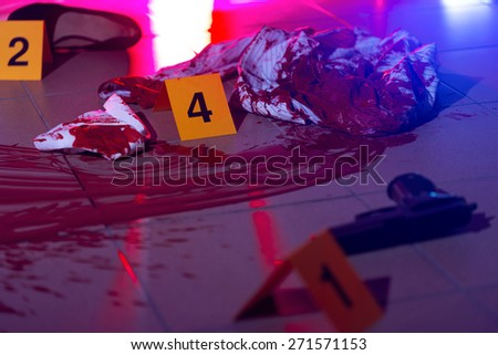 Horizontal view of bloody evidences of crime - stock photo