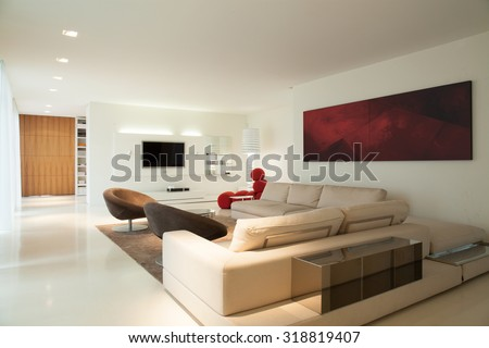 Horizontal view of contemporary living room design - stock photo