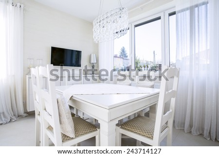 Horizontal view of dining room at new home - stock photo