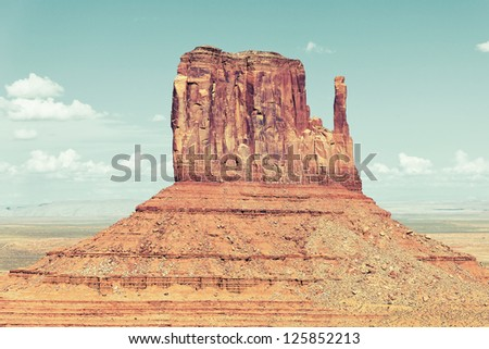 horizontal view of famous Monument Valley, USA - stock photo