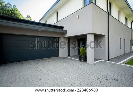 Horizontal view of garage from the outside - stock photo
