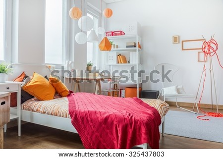 Horizontal view of modern teen room design - stock photo